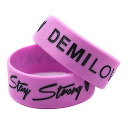 Wide Silicone Band Australia - Wholesale 50PCS Lot 1 Inch Wide Band Demi Lovato Silicone Wristband Wear This Bracelet To Support Your Idol