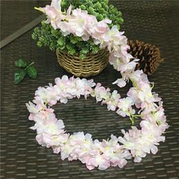 $enCountryForm.capitalKeyWord Australia - 4pcs set Cherry Blossoms Rattan Sakura Fabric Artficial Flowers Diy Wedding Garden Decoration Flores Party Decor Wreath