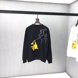Wholesale 2019 Autumn New Male Clothes Fashion Lovely Lightning Pikachu Print Black Color Mens Sweatshirt Men Novelty Hoodies Pullover