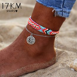 Runes jewelRy online shopping - 17KM Vintage OM Rune Anklets For Women New Handmade Cotton Anklet Bracelets Fashion Female Beach Foot Jewelry Gifts