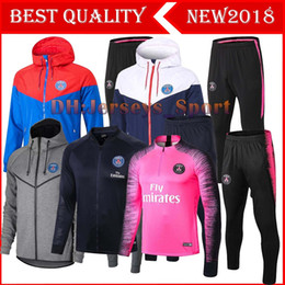 Wholesale PSG black Long Sleeve Jacket Suit Kit Soccer Jersey PSG Training Uniform Paris Saint Germain Football Suits Jacket Pants