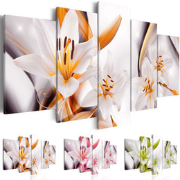 Painting Lily Australia - (Unframed, Only Print) Canvas Print Modern Abstract Flower Floral Lily Painting Home Decoration Gift for Love, Choose Color(Green,Orange,Pur