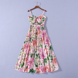 flower print pleated dress Canada - European and American women's dress 2020 summer new styles Condole belt Bowknot flower print pleats Fashionable dress