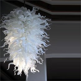 Living room chandeLier saLe modern online shopping - Hand Blown Murano Glass Chandeliers handmade Modern Art Deco Dale Chihuly Style Tiffany Style Glass Hot Sale Led White Pendant Lamps