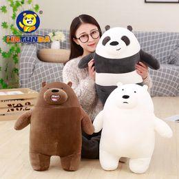 White stuffed animal bears online shopping - New Arrival3 Styles Bare Bears Grizzly Peanda Ice Bear Stuffed Animals Cute Soft Plush Toys Children Birthday Gift