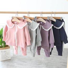 $enCountryForm.capitalKeyWord Australia - New autumn lace girls tracksuit kids tracksuit kids designer clothes girls sweat suit jacket coat+trousers pants 2pcs A7381
