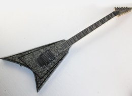 v shaped guitars UK - Factory wholesale gray V shaped electric guitar with gray pearled veneer,Rosewood fretboard,Floyd rose,offering customized services