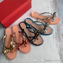 $enCountryForm.capitalKeyWord Australia - Brands Women Rivets Bow knot Flat Slippers sandals Girls Flip Flops studded Summer Shoes Cool Beach Slides Jelly Shoes 35-39