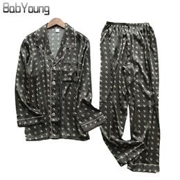 4e4db405fa BabYoung New Men Silk Pajamas Set Turn-down Cardigan Long Sleeve Tops Pants  Satin Nightwear Sleepwear Pijama Hombre Plus Size