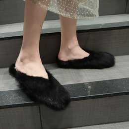 FluFFy Fur online shopping - Hot Sale Fur Slippers Women Home Fluffy Sliders Comfort with Feather Furry Summer Flats Sweet Ladies Winter Shoes Home Mules