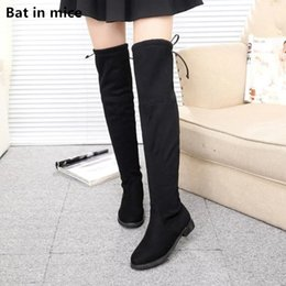 over knee snow boots Australia - Winter women Thigh High Boots women warm Snow Boots stretch Fabric Casual lace-up Black women Over-the-Knee boots mujer T143