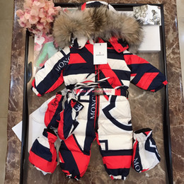 Jumpsuit matching online shopping - Baby down jacket kids designer clothing winter baby color matching jumpsuit down jacket hooded fur collar design jumpsuit custom