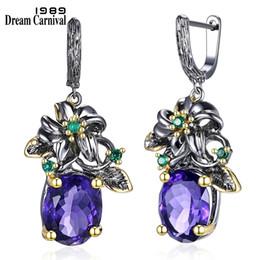 $enCountryForm.capitalKeyWord Australia - Dreamcarnival 1989 Elegant Vintage Drop Earrings Flower Look Big Blue Cz Gun Black Plus Gold Color Base Everyday Jewelery We3799 J190628