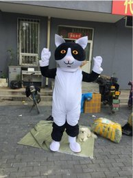white cat halloween costume Canada - Professional custom black and white cat Mascot Costume cartoon wildcat animal character Clothes Halloween festival Party Fancy Dress