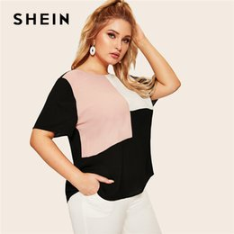 Plus size blouse short sleeve online shopping - SHEIN Plus Size Keyhole Back Cut And Sew Women Blouse Summer Casual Colorblock Round Neck Short Sleeve Blouse Ladies Tops