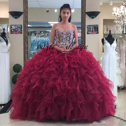 Chinese  2018 Burgundy Beaded Ball Gown Quinceanera Dresses Strapless Neckline Appliques Prom Gowns Crystals Lace-up Back Rhinestones Sweet 16 Dress manufacturers