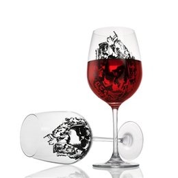Hip Flask Cups Set UK - Skull Wine 20OZ Glass Cup Transparent Crystal Skull Glass Brandy Snifters 630ML Big Capacity 1 Set 2 Pcs lot