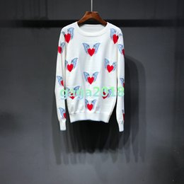 Cotton Knit Blouses NZ - New Women girls Knitted Sweaters shirt Round neck Silk cotton with red heart with wings female jacquard long-sleeved slim tees top blouse