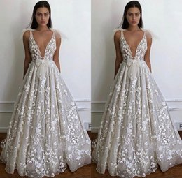 Beach wedding ties online shopping - Summer Beach Boho Wedding Dresses A Line Sexy Deep V Neck Appliques Fitted Bow tie Backless Bridal Gowns Plus Size