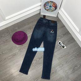 $enCountryForm.capitalKeyWord Australia - High end women girls women girls Pencil Pants Women Denim Color matching letter embroidery printing Slim fit Trousers Middle waist jeans