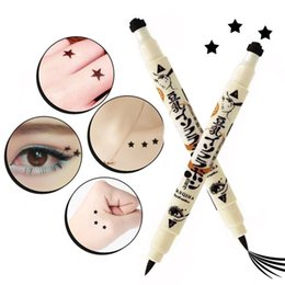 Tattooed Eyeliner Australia - YANQINA Eyeliner 2 Sides Trendy Black Waterproof Liquid Pencil Maquillaje Star Heart Stamp Stamper Dot Stamping Tattoo 131-0276