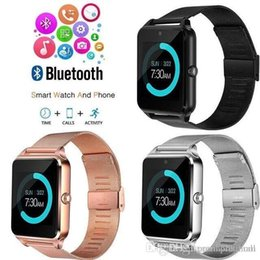 bluetooth smart watch sim Australia - The wholesale Z60 Bluetooth Smart Watch Wireless Watches Stainless Steel For Android IOS Support SIM TF Card Fitness Tracker with Retail Box