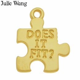 """$enCountryForm.capitalKeyWord Australia - Julie Wang 20PCS Gold Jigsaw Puzzle Charms Alloy """"Does It Fit"""" Pendant Jewelry Making Earring Necklace DIY Accessories"""