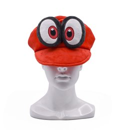 mario puppets Australia - Anime Mario Cosplay Big Eye Odyssey Cappy Red Hat Mario Soft Wearable Baseball Caps Unisex Adjustable Cartoon Hats