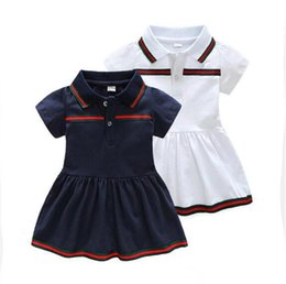 57d7b838459 INS selling European and American style girl short sleeve Lapel collar Dress  high quality cotton summer dress free shipping B11