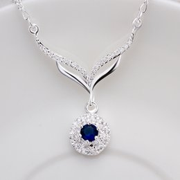 Necklaces Pendants Australia - new arrived 925 sterling silver jewelry leafage link round blue stone crystal pendant necklace for women girls promotion