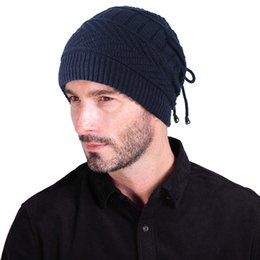 fallen hats Australia - Men's winter hat 2019 fashion knitted black hats Fall Hat Thick and warm and Bonnet Beanie Soft Knitted Beanies Cotton