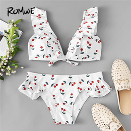 cute ruffle bikinis Australia - Romwe Sport Bikinis Set Cherry Polka Dot Print Ruffle Top With Low Rise Bottoms Swimwear Women Plunge Neck Sexy Cute Swimsuit Y19062901
