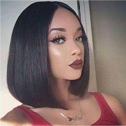 straight hair chinese bangs 2019 - Yaki Straight Short Bob Wig Brazilian 13*4 Lace Front Human Hair Wigs with Bangs Remy Natural Black FOR Women cheap stra