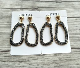 Crystal Stud Metal Australia - Metal Round shape Paved Rhinestone Crystal Earrings,Jewelry For Women Bohemia style Earring Christmas gift ER613