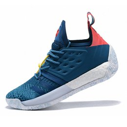 3eb08987f79 Hot 2019 Arrival James Harden Vol.2 Mens Basketball Shoes Blue Night Bright  Cyan-Shock Red Outlet Sports Training Boost Size US7-11.5