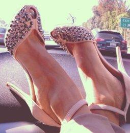 Discount pink shoes studs - Womens Rhinestones Rivet Studs Open Toe Sandals Ankle Strap High Heels Stilettos Pumps Shoes A257