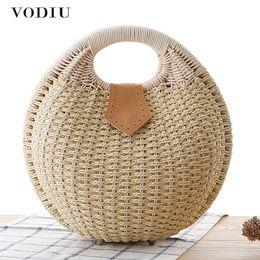 Handbags for body sHape online shopping - Summer Beach Bag Straw Bag Shell Shaped For Ladies Women s Fashion Handbags Handmade Bohemian Bali Rattan Handbags Women