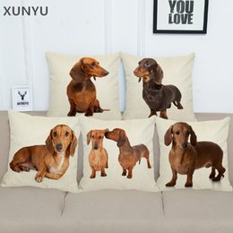 cute animal pillowcase Canada - XUNYU Cartoon Dacshund Dog Pillowcase Home Sofa Square Pillow Cover Cute Animal Pattern Decorative Cushion Cover 45X45cm AC025
