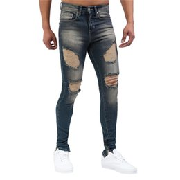 Wholesale torn trousers fashion for sale – denim Mens High Street Destroyed Jeans With Holes Fashion Streetwear Ripped Denim Pants Trousers Torn Distressed Jeans Washed