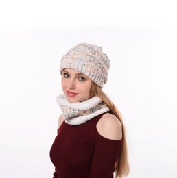 Scarf hat Style women online shopping - Slouchy Knitted Beanie Hat Scarf Set Styles Ski Cap Winter Thicken Plush Lined Neck Warmer set LJJO7198