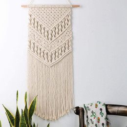 wool tapestries Canada - Macrame Woven Wall Hanging Boho Chic Bohemian Room Geometric Tapestry Art Beautiful Apartment Dorm Room Decoration 14in W x