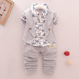 Wholesale good quality boys spring autumn clothes sets fashion formal suits cotton print gentleman suits bebe boys brand tracksuit clothing