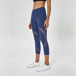 Black leggings designs online shopping - LU Thick Material Atheltics yoga legging Pocket Mesh Design Women Sports Capris Elastic Fitness Leggings Slim Running Gym Pants