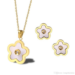 $enCountryForm.capitalKeyWord Australia - New designs wholesale price fashion stainless steel gold plated jewelry set manufacturer shell conch flower pendant and stud earrings with h