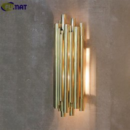 gold wall lamps bedroom UK - Fumat Modern Nordic Wall Lamp Bedroom Wall Mounted Light Fixtures Gold Sconce Pipe Organ Brubeck Wall Lamp
