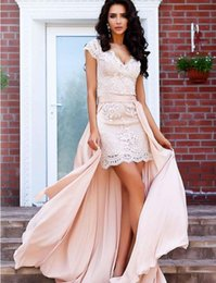 jacket dresses plus size special occasions 2019 - Arabic Pink Short Prom Dress With Overskirts V Neck Cap Sleeve Lace Appliques Evening Party Gowns Hi Low Special Occasio