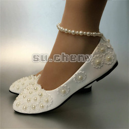 $enCountryForm.capitalKeyWord Australia - Flat White lace pearls low high heels Wedding Bridal shoes women party shoes