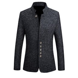 2019 Mens Blazer Do Vintage Casacos de Estilo Chinês Business Dress Blazers Casual Gola Jackets Masculinos Fino Terno Casaco