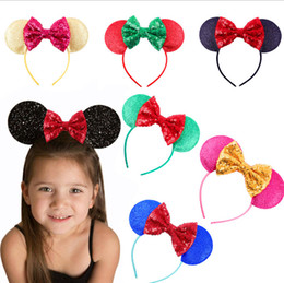 Girls Sequin Hair Accessories Australia - Kids sequins Bows hair sticks shining children cartoon animal ear cosplay party hair accessories boutique girls princess hairbands F4360