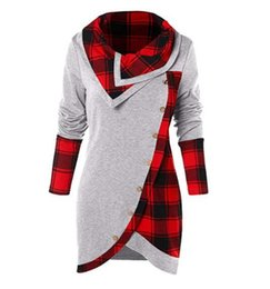 3a26d2c08 Skew Button Plaid Spliced Tulip Front T-shirt Women Casual Skew Collar Long  Sleeve T shirt Ladies Clothes 10colors MMA1348